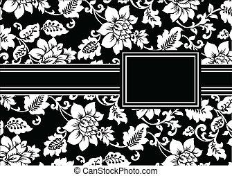floral, frame, vector, black , lint