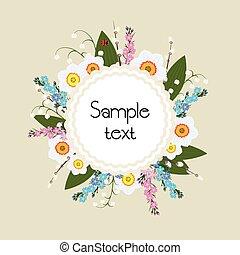 Floral Frame Vector. Circular ornament flowers. - Floral...