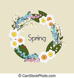 Floral Frame Vector. Circular ornament flowers.
