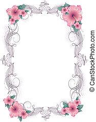 floral, frame, vector