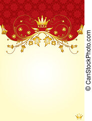 Floral frame with Crown for design, vector illustration