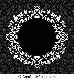 floral, frame, vector, ronde