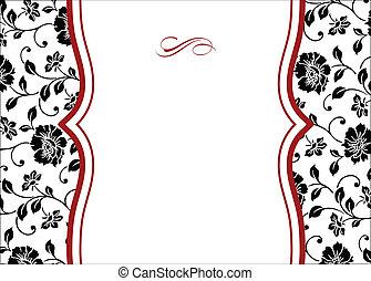 floral, frame, vector, rood