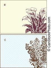 floral, frame, vector, set