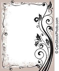 floral, frame, vector, sierlijk