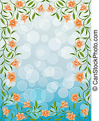 Floral frame with a lily