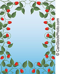 Floral frame with a raspberry
