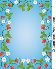 Floral frame with a strawberry