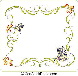 floral frame with butterflies