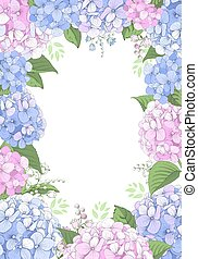 Floral Frame With Hydrangea Flowers