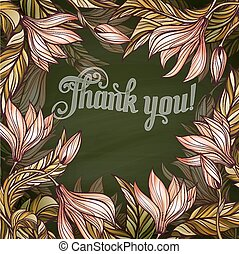 "Floral frame with lettering ""Thank you!"""