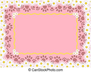 Floral frame with paw prints and copy space for text.