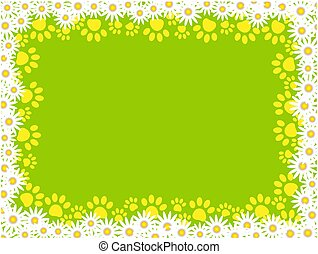 Floral frame with paw prints on green background.