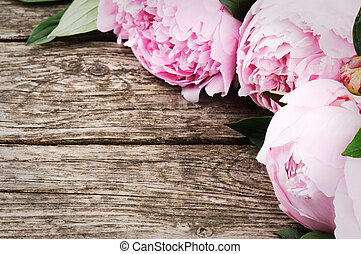 Floral frame with pink peonies