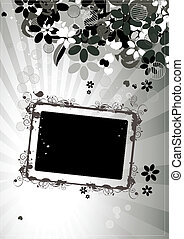Floral frame with place for your text and photo