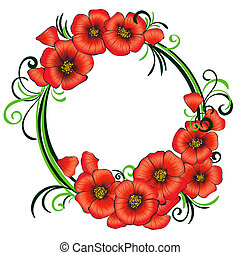 Floral frame with red poppies and green swirls.