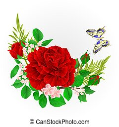 Floral  frame  with  red  Rose  and butterfly vector.eps
