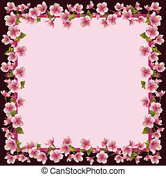 Floral frame with sakura blossom - japanese cherry tree, sakura blossom background. Invitation or greeting card, place for text. Vector illustration