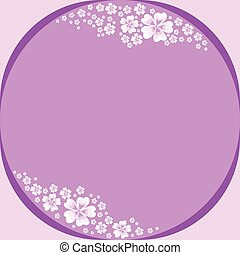 Floral frame with white flowers on violet background