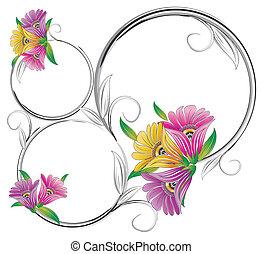 floral, frame, zich verbeelden
