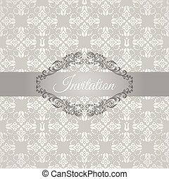 floral, frame, zilver, uitnodiging