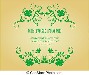 Floral frames with clover - Floral vintage frames with...