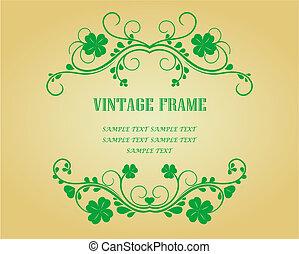 Floral frames with clover