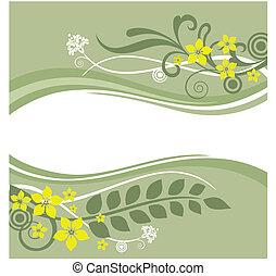 floral, fronteiras, verde, amarela