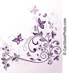 floral, frontera, violeta