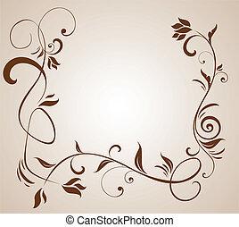 floral, frontière brune