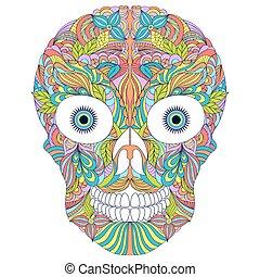 floral, fundo, abstratos, branca, cranio