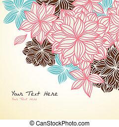 floral, fundo, canto, azul, cor-de-rosa
