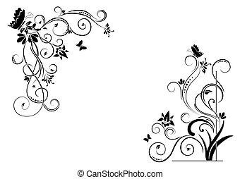 floral, fundo, com, borboletas