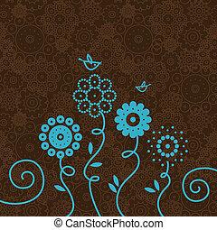 floral, fundo, com, caricatura, pássaros
