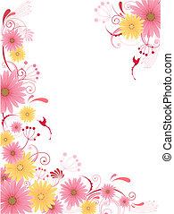 floral, fundo, com, ornamento