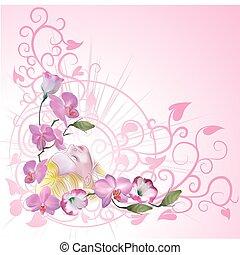 floral, fundo, com, um, mulher, daydreaming