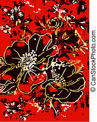 floral, fundo, desenho