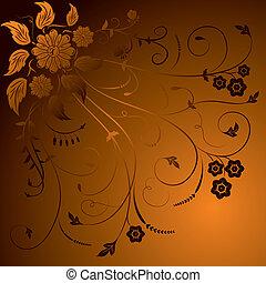 floral, fundo, elementos, para, desenho, vetorial