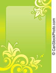 floral, fundo, em, verde