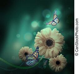 floral, fundo, gerbery, em, a, raios luz, e, borboleta
