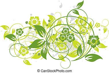 floral, fundo, grunge, vetorial