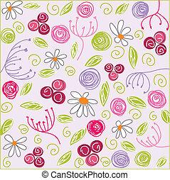 floral, fundo, páscoa