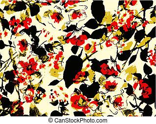 floral, fundo, textura