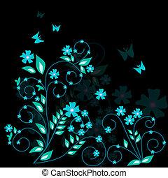 floral, fundo, -, vetorial