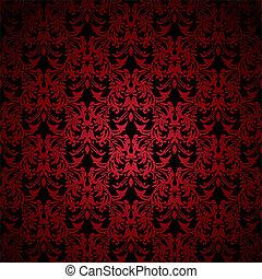 floral, gótico, rojo