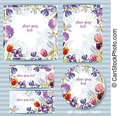 floral, gabarit, irises., conception, vecteur, carte