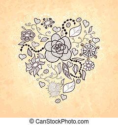 floral, garabato, corazón, de, flores, hojas, mariquita