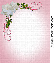 floral, gardénias, frontière