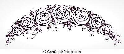 Floral garland. Rose flowers bouquet.