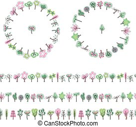 Floral garlands and seamless pattern brushes made of blossoming spring trees. Easter collection of trees for your design, greeting cards, announcements, posters.